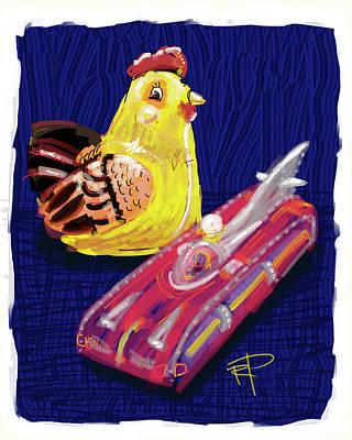 Digital Art - Chicken And Rocket Car by Russell Pierce