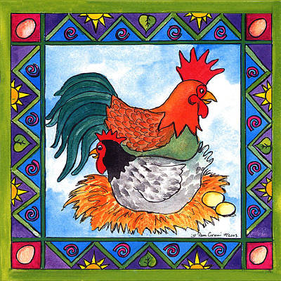 Corwin Painting - Chicken And Rooster by Pamela  Corwin