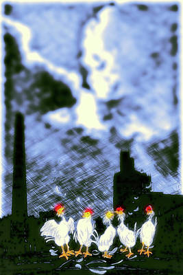 Digital Art - Chicken Buskers by John Haldane