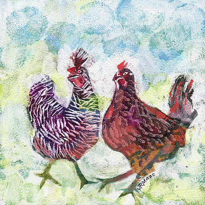 Mixed Media - Chicken Chat I by Julie Maas