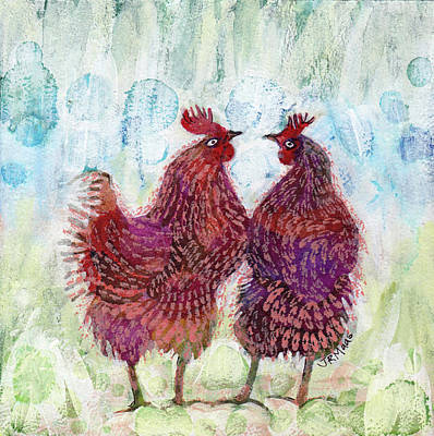 Mixed Media - Chicken Chat II by Julie Maas