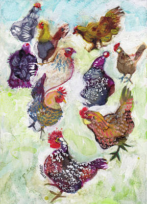 Mixed Media - Chicken Chatter by Julie Maas