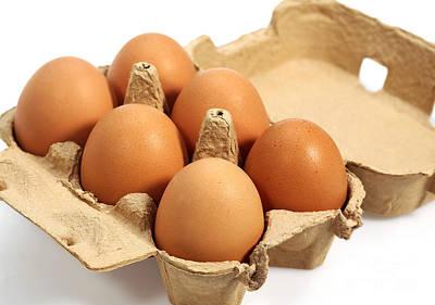 Chicken Eggs In Eggbox Art Print