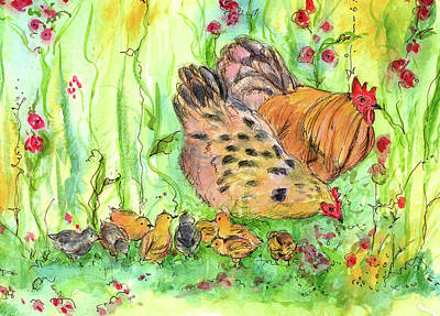 Print featuring the painting Chicken Family by Cathie Richardson