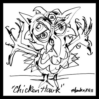 Drawing - Chicken Hawk by John Stillmunks