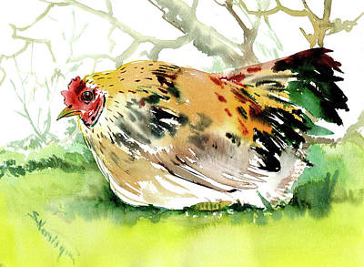 Painting - chicken, Hen by Suren Nersisyan