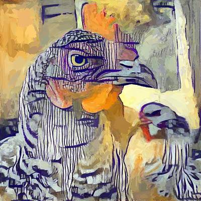 Digital Art - Chicken/Moustache by Matthew Daigle