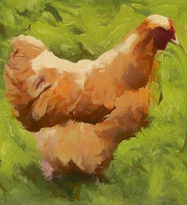 Chicken Mixed Media - Chicken On Green by Dan Sproul