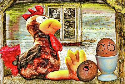Digital Art - Chicken Or Eggs by John Haldane