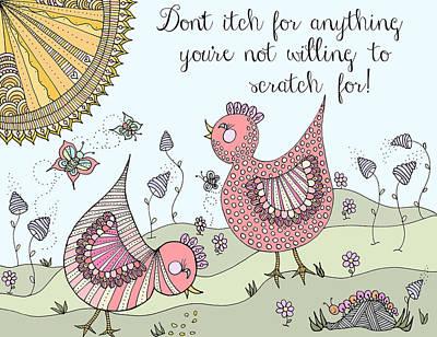 Drawing - Chicken Pickin' 3 by Linda Tetmyer