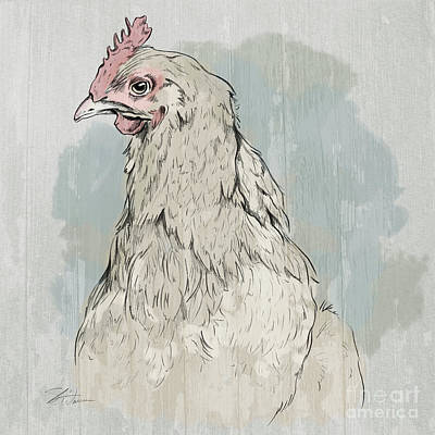 Agriculture Mixed Media - Chicken Portrait-farm Animals by Shari Warren
