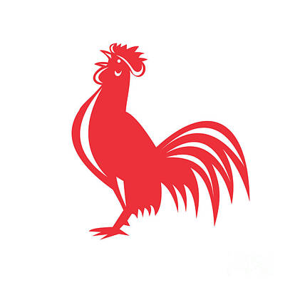 Poultry Digital Art - Chicken Rooster Crowing Retro by Aloysius Patrimonio