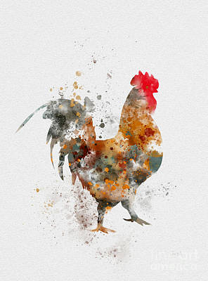 Chicken Mixed Media - Chicken Rooster by Rebecca Jenkins