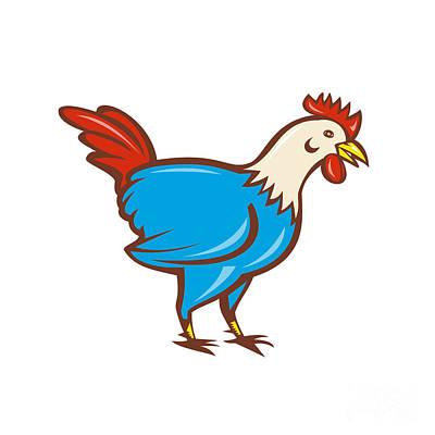 Poultry Digital Art - Chicken Rooster Side Cartoon by Aloysius Patrimonio