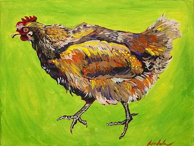Big Rooster Painting - Chicken Verde by Mardi Claw