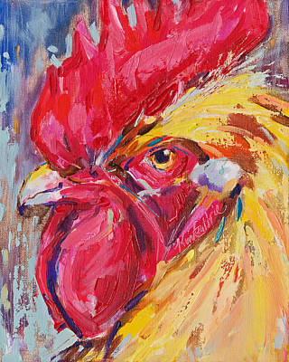 Big Rooster Painting - Chicken With Attitude by Kim Guthrie