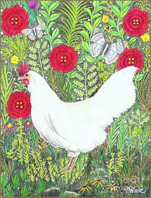 Chicken With Millefleurs And Butterflies  Art Print