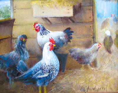 Painting - Chickens All Cooped Up by Oz Freedgood