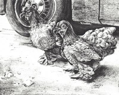 Drawing - Chickens Crossing The Road by Michael Ivy
