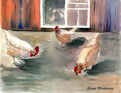 Chickens In The Barnyard Art Print by George Markiewicz