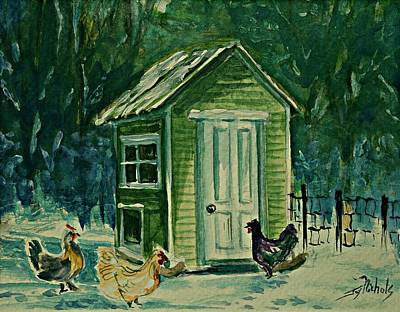 Painting - Chickens In The Snow by Joy Nichols