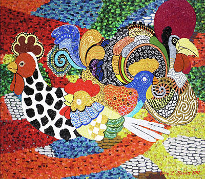 Mixed Media - Chickens by Jerry L Barrett