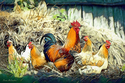 Digital Art - Chickens by Pennie McCracken