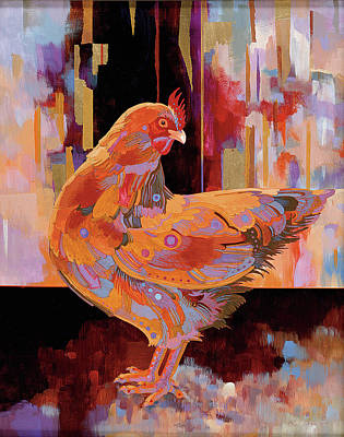 Abstract Realism Painting - Chickenscape I by Bob Coonts