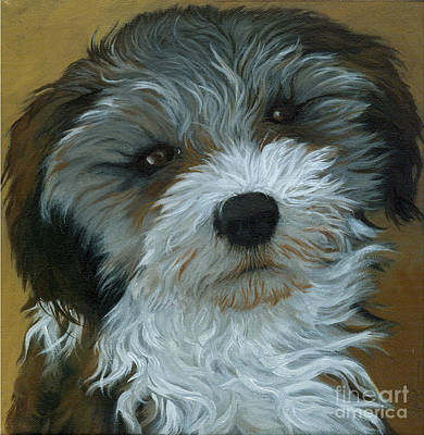Chico - Dog Portrait Oil Painting Art Print by Linda Apple