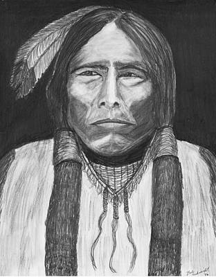 Native American Spirit Portrait Drawing - Chief Crazy Horse by Bob Schmidt
