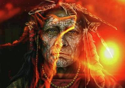 Painting - Chief Fire by Tbone Oliver