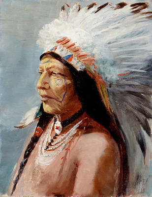 Chief Flying Eagle Of The Blackfoot Tribe Print by Lewis A Ramsey