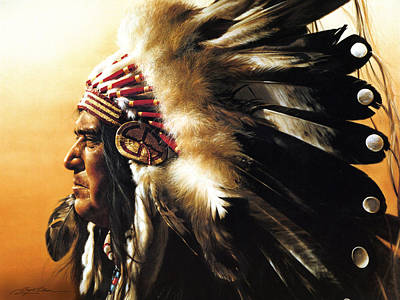 Feathers Painting - Chief by Greg Olsen
