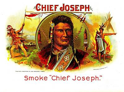 Painting - Chief Joseph Cigar Box Label by Peter Gumaer Ogden Collection
