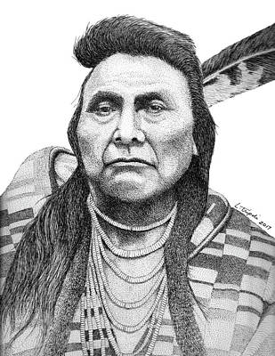 Drawing - Chief Joseph by Lawrence Tripoli