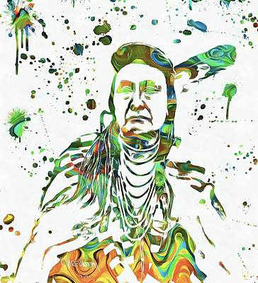 Chief Joseph Painting - Chief Joseph Paint Splatter by Dan Sproul