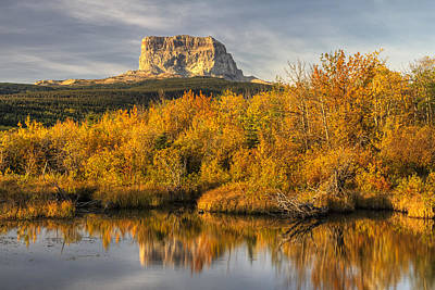 Landscapes Royalty-Free and Rights-Managed Images - Chief Mountain Autumn by Mark Kiver
