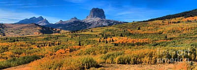 Photograph - Chief Mountain Fall Panorama by Adam Jewell
