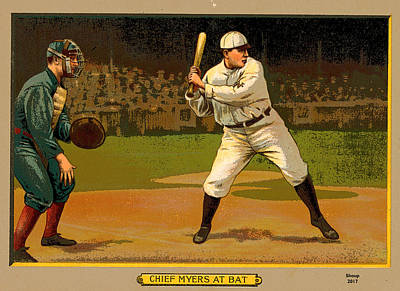 Old Pitcher Mixed Media - Chief Myers At Bat by Charles Shoup