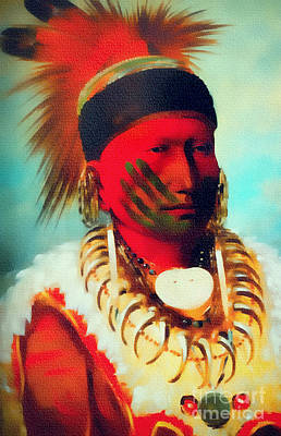 Painting - Chief Of The Iowas Tribe by Ian Gledhill
