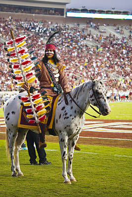 Chief Osceola And Renegade On Bobby Bowden Field Art Print by Frank Feliciano