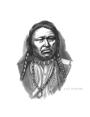 Bison Drawing - Chief Ouray by Lee Updike