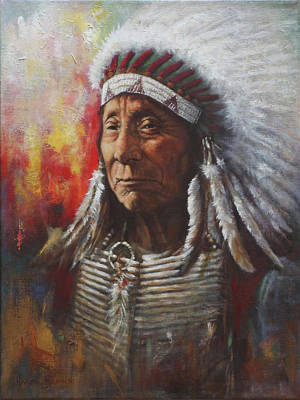 Native Portraits Painting - Chief Red Cloud by Harvie Brown