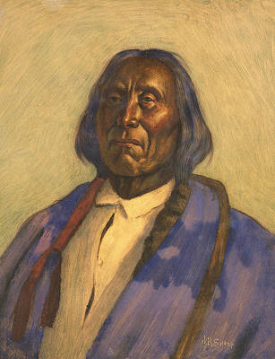 Relief - Chief Red Cloud by Joseph Henry Sharp