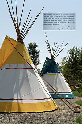 Homemade Quilts Photograph - Chief Red Cloud Message And Tepees Wyoming Buffalo Bill Center Of The West by Thomas Woolworth