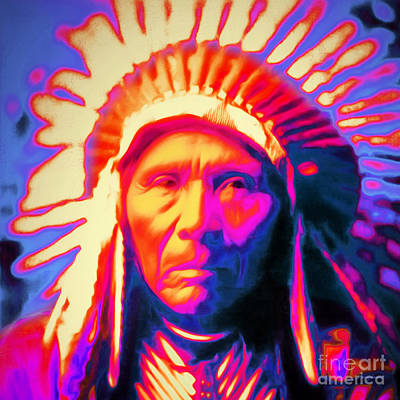 Photograph - Chief Three Horses 20151231 Square by Wingsdomain Art and Photography