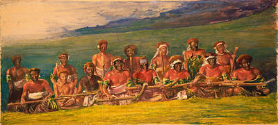 Aborigine Painting - Chiefs And Performers In War Dance Fiji by John LaFarge