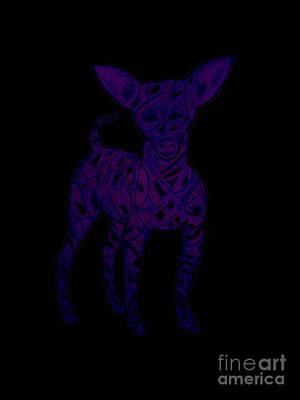 Chihuahua Digital Art - Chihuahua Blue Black Caracature by Carol Brown