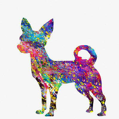 Chihuahua Digital Art - Chihuahua-colorful by Erzebet S