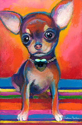 Custom Dog Portrait Painting - Chihuahua Dog Portrait by Svetlana Novikova